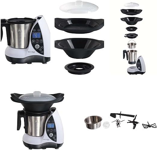 Robot de cocina todo en uno. Con función de cocción, potencia: 1.500 W, 12 funciones, cocina al vapor, recipiente de acero inoxidable, color blanco: Amazon.es: Hogar
