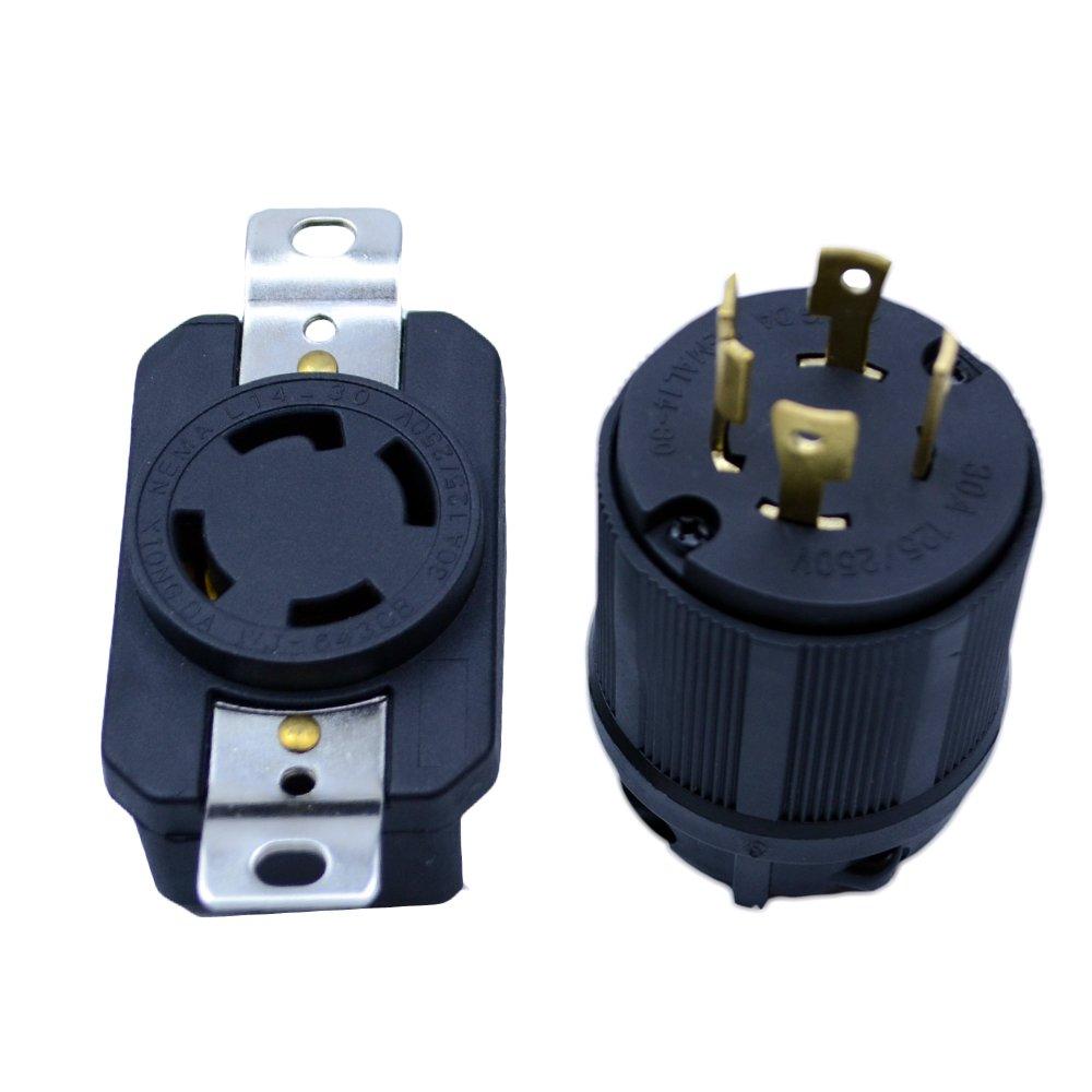 Flypig Generator Rv Ac Plug Socket L14 30 Amp 120v 220v 30a Wiring Male Female Receptacle Home Improvement