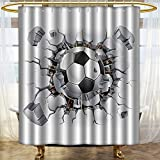 PRUNUSHOME Sports Decor Collection Soccer Ball and Old Plaster Wall Damage Destruction Punching Illustration Image Polyester Fabric Bathroom Shower Curtain White Gray Black/W66 x L72