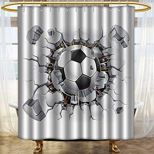 PRUNUSHOME Sports Decor Collection Soccer Ball and Old Plaster Wall Damage Destruction Punching Illustration Image Polyester Fabric Bathroom Shower Curtain White Gray Black/W66 x L72 by PRUNUSHOME