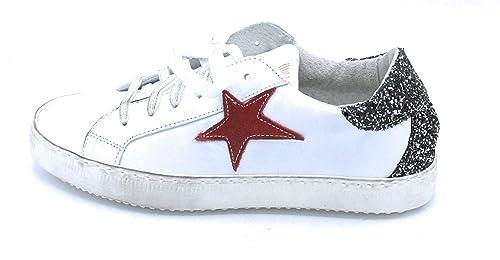 Bianco Ovye Sneaker Lacci Pelle Post Rossa Am350 Glitter Stella mNyn0O8vw