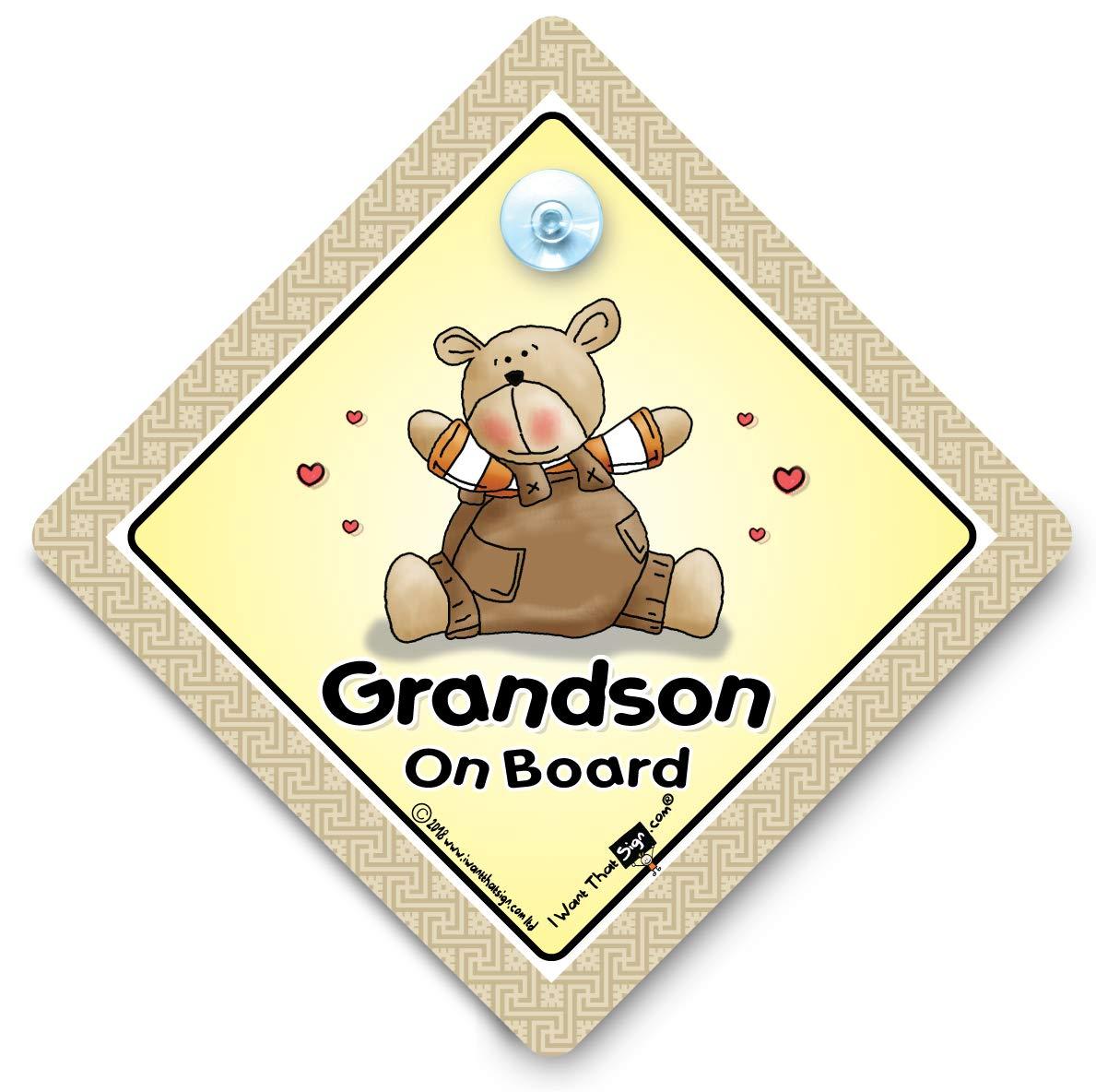 Grandchild On Board Yellow Suction Safety Fun Car Display Window Badge Sign