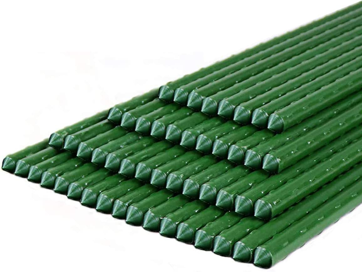 SEKKVY Garden Stakes 48 Inches Sturdy Plastic Coated Steel Plant Sticks Support for Securing Trees, Natural Climbing Plants, Shrubs (50 Pack - 48 Inches, Green)