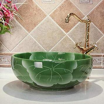 Rjbzd Jardín de flores de loto verde Europa Lavabo de cerámica de estilo vintage Encimera Lavabo del baño Lavabo de manos Lavabos de baño: Amazon.es: Bricolaje y herramientas