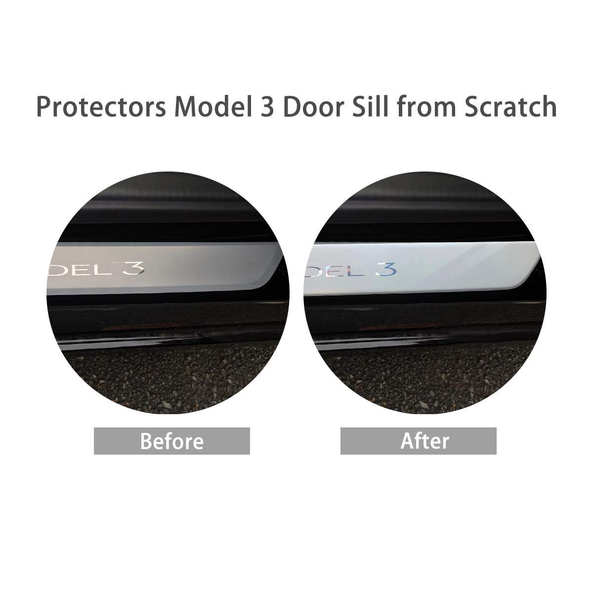 2 Pieces BASENOR Tesla Model 3 Door Sill Wrap Clear Protection Kit Car Stickers for Model 3