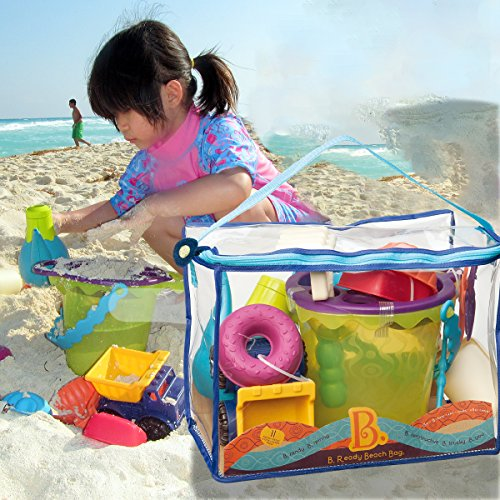 B Phthalates and BPA Free 18 m+ Ready Beach Bag B Beach Tote with Mesh Panel and 11 Funky Sand Toys toys