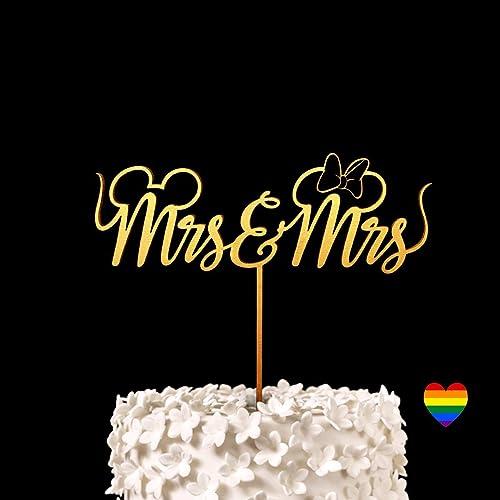 Amazon.com: Mrs & Mrs Disney Wedding Cake Topper - Keepsake Wedding ...