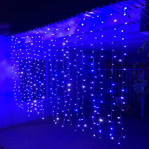 Alion Home Curtain Lights 2-in-1 Dual Color 400-Count LED String Light Wedding Party Outdoor Indoor Decorations – 10 ft W 6 ft H 2, Cool White Blue
