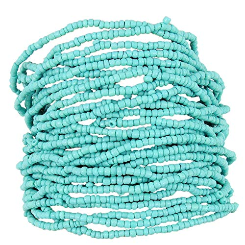 Turquoise Network Womens Fashion Stretch Bracelet Multi-Strand Faux Beads Gemstone-Look Boho (Select Color) (Aqua Blue) (Genuine Multi Strand)