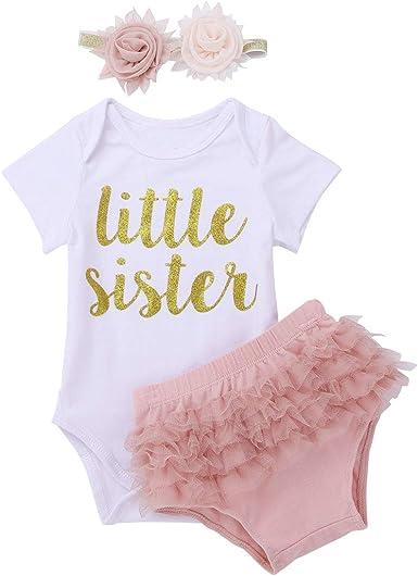 iiniim Ropa de Niña Bebé 0-18 Meses Conjunto de Niña Bebé Recién Nacido Pelele Algodón para Bebés Camiseta Top Manga Corta Body + Pantalones Cortos + Diadema Flores Rosa Blanco 12-18 Meses: