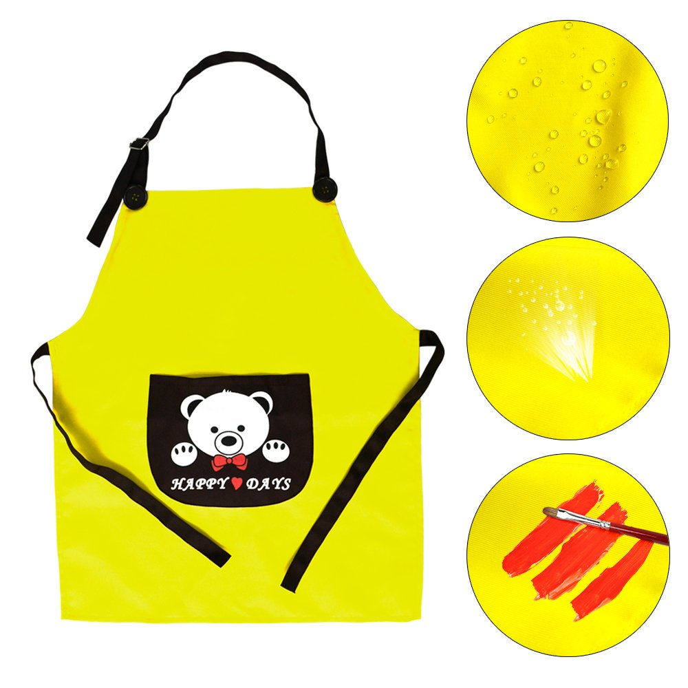 Xixihaha Kids Chef Set Child's Chef Hat Apron Set Adjustable Fit Toddler Career Role Play, Kitchen,Painting,Cooking,Dress-up Baking Art Crafting,Classroom (Yellow)