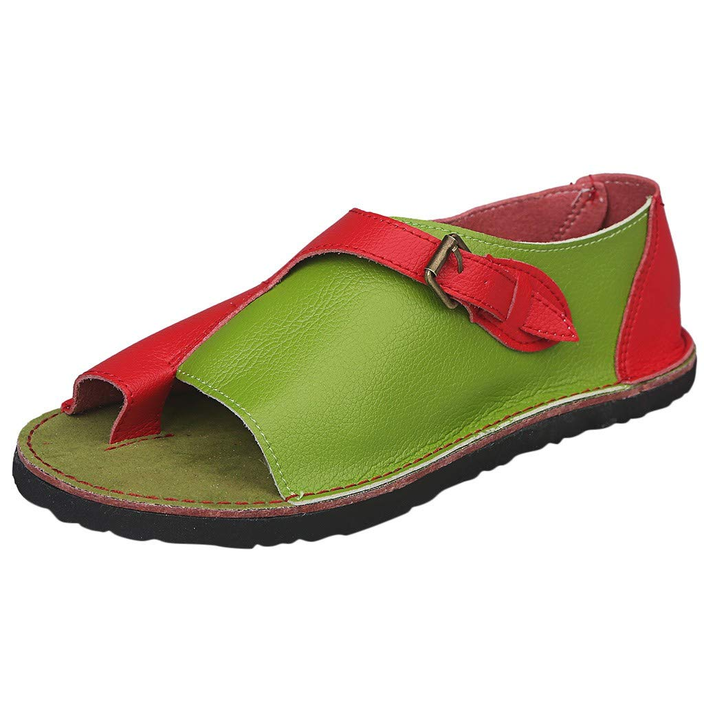 ZOMUSAR New! 2019 Women Roman Style Soft Comfortable Leisure Flat Sandal Buckle Flat Beach Sandals Red