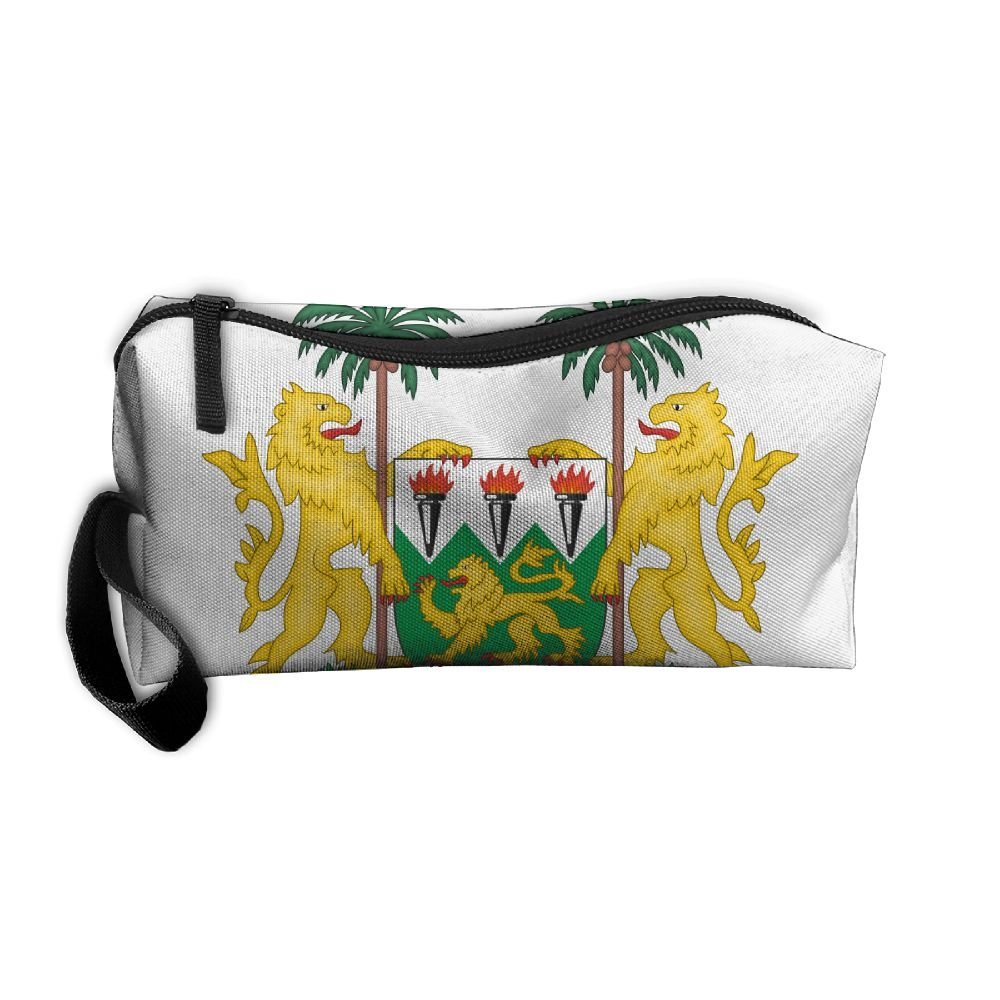 HSs4AD Coat Of Arms Of Sierra Leone Cosmetic Bag Travel Toiletry Bag Portable Makeup Pouch Hanging Organizer Bag