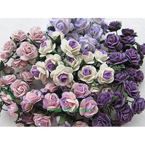 100pcs Mini Rose mixte Violet Couleur papier mûrier Fleur 10–15mm scrapbooking carte de mariage Fournitures de maison de poupée, par Amata Kufu élégant