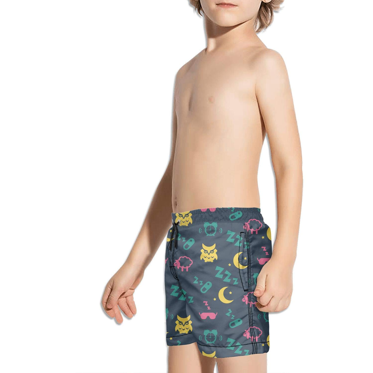 Boys Swim Trunks Pastel Beige and Brown Cute owl Quick Dry Bathing Suits Beach Board Shorts