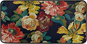 KRYSTYMG Blooming Garden Flowers Kitchen Floor Mats Non Slip Washable Kitchen Rugs and Mats for Entryway Hallway Indoor Bedroom Bathroom Living Room Personalized Home Decor 39x20 Inch