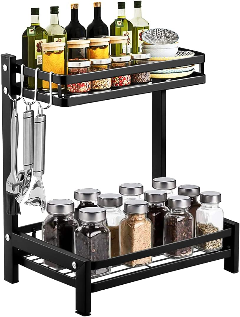 2 Tier Kitchen Spice Rack Organizer for Cabinet Wall Mount for Spice Racks, Shelves Rack for Bedroom Wall Shelf Storage for Spices Utensils or Plates with Hooks Organization for Home and Kitchen