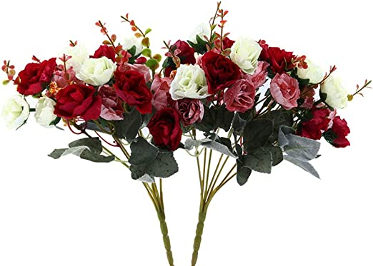 21 Heads Artificial Silk Rose Flowers Leaves Fake A Decor Home Wedding Bouquet