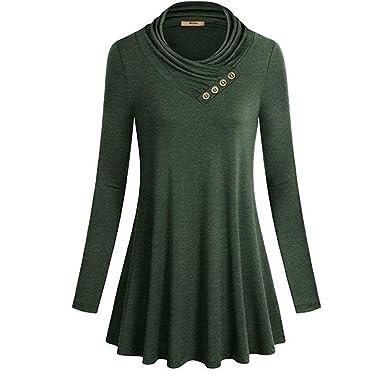 Vertvie Femme T-Shirt Long Tunique à Manches Longues Tops Blouse Casual  Confortable Col Bouton 8573cfa5b881