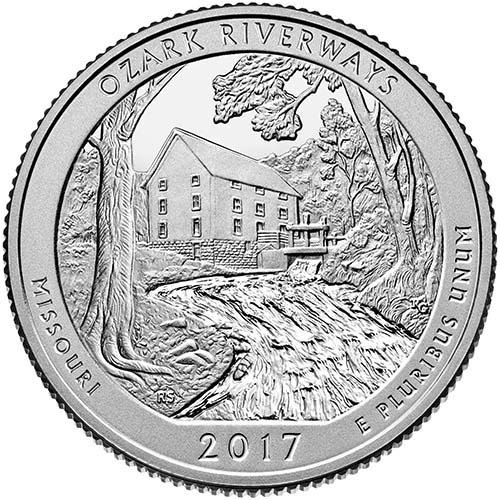 2017 P,D,S BU Ozark Riverways, Missouri National Park NP 3 Coin Set Quarter Brilliant Uncirculated US Mint