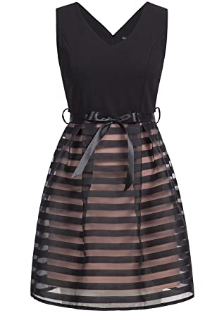 violet Fashion Damen Mini Kleid 2 Lagig Brustpads Bindeband