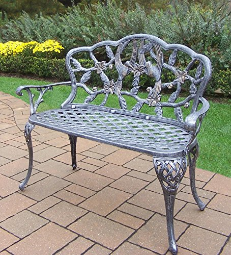 Cast Aluminum Garden Bench (Oakland Living Hummingbird Cast Aluminum Loveseat Bench, Antique Pewter)