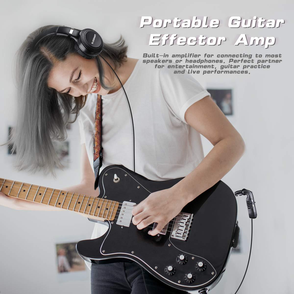 ELEGIANT Mini Amplificador de Guitarra Bluetooth, Transmisor Inalámbrico para Guitarra Eléctrica de Audio Portátil Recargable Sintetizador 5 Efectos de ...