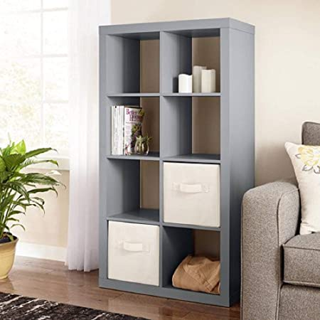 Better Homes and Gardens 4-Cube Organizer Storage Bookcase Bookshelf 4, White Gray, 8 Cube