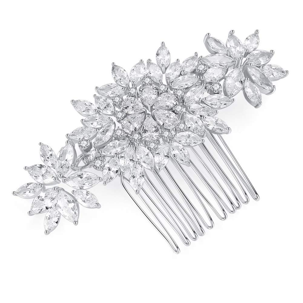 Handmade Wedding Hair Comb - Cubic Zircon CZ Jewelry Hair Comb Accessory Flower Leaf Silver Vintage Bridal Hair Clips Accessories for Brides and Bridesmaids by CZCITY