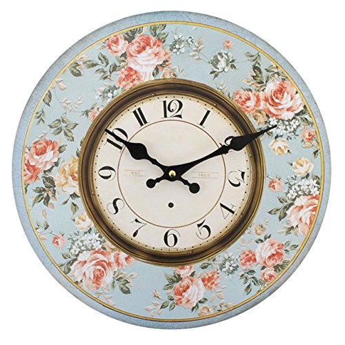Amazon.com: Shabby Chic Pink Roses With Blue Background Wall Clock: Home & Kitchen
