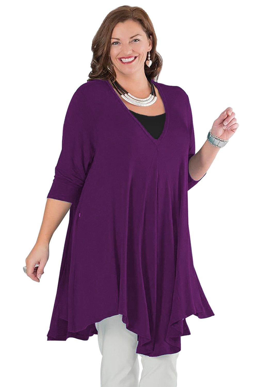 ReachMe Womens Extra Plus Size Tunics Long Sleeve V Neck Irregular Hem Tops(Purple,2XL)