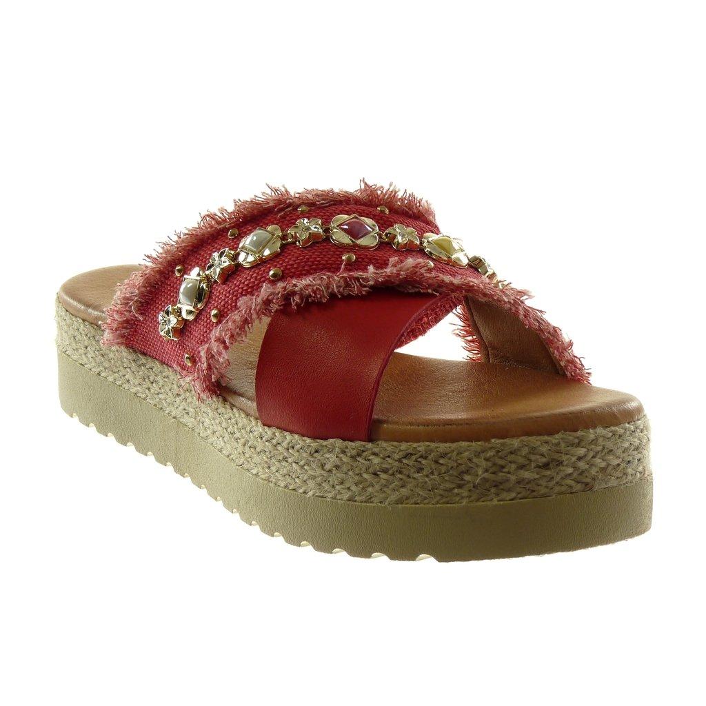 Angkorly Chaussure Mode Mule Sandale Slip-on Plateforme Femme Bijoux Effiloché Corde Talon Compensé Plateforme 4.5 cm