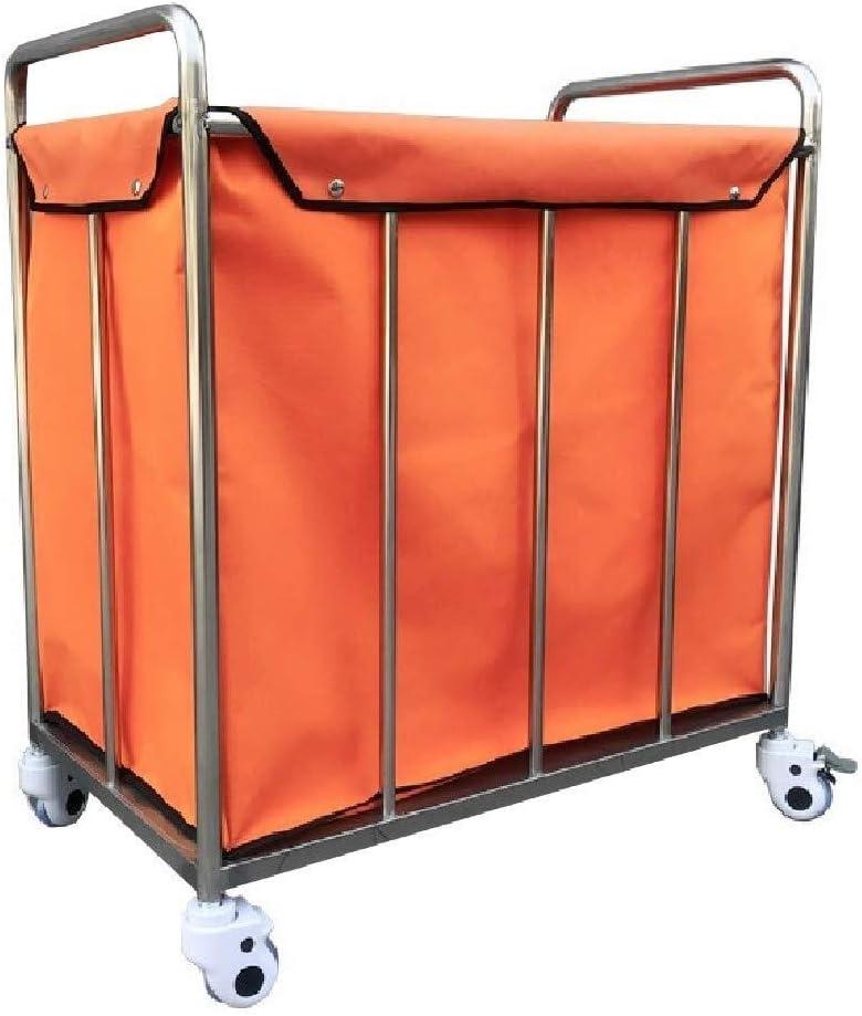 BDD Carts,Laundry Basket, Laundry Trolley, Heavy Duty Laundry Hamper Trolley for Home Hotel Clothes Storage,Orange