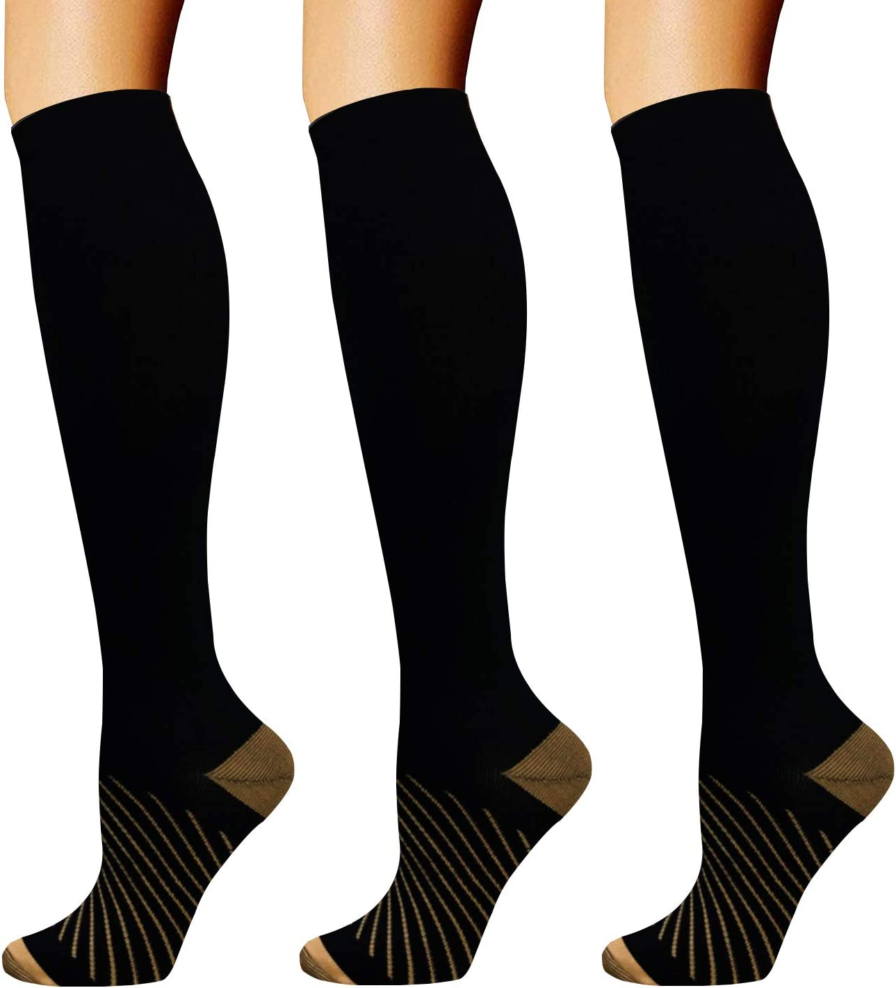 Copper Compression Socks for Men & Women(3 Pairs),20-30mmHg is Best for Running,Medical,Pregnancy,Travel,Nurses