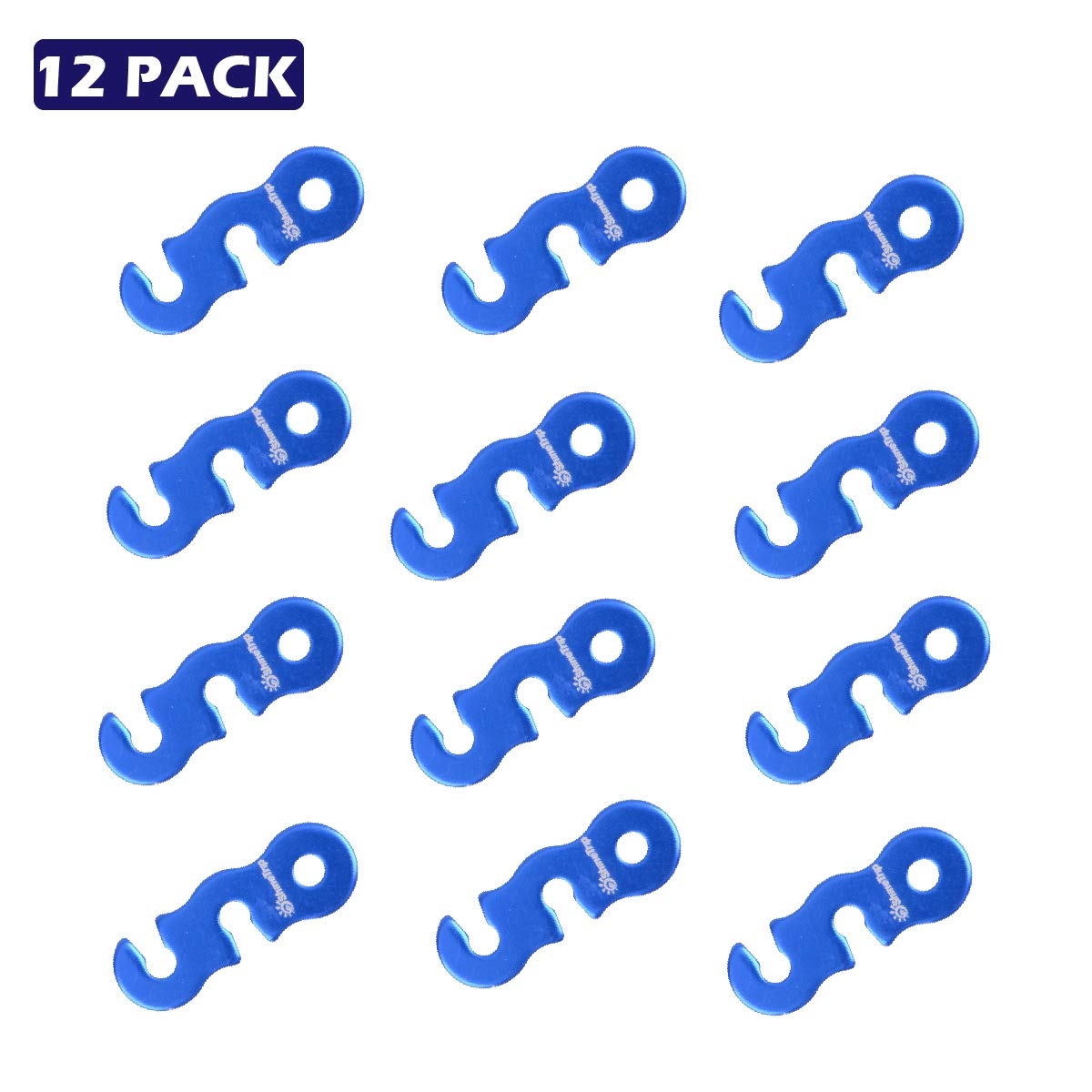 Azarxis 12 PCS Aluminum Alloy Tent Tensioners Rope Adjuster Guyline Cord Adjuster Wind Rope Buckle Lightweight for Tent Camping Hiking Backpacking Picnic Shelter Outdoor