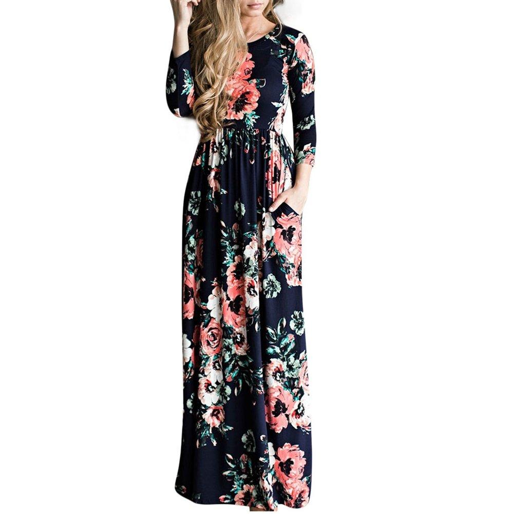TALLA (EU46-48)XL. Lover-Beauty Vestido Largo Floral Print Casual para Noche Fiesta Playa Fiesta Manga Larga Cuello Redondo Vestido Verano Cuello V Azul Oscuro 2 (EU46-48)XL