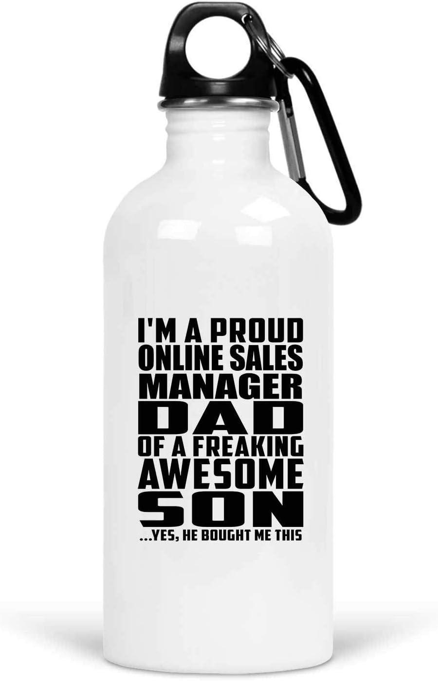 Designsify Proud Online Sales Manager Dad of Awesome Son - Water Bottle Botella de Agua, Acero Inoxidable - Regalo para Cumpleaños Aniversario el Día de la Madre o del Padre