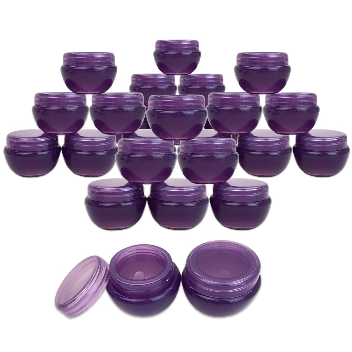 Beauticom 24 Pieces 10G 10ML Purple Frosted Container Jars with Inner Liner for Lotion, Toners, Lip Balm, Makeup Samples – BPA Free