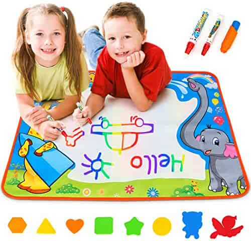 Toyk Aquadoodle Mat Kids Toy Water Doodle Mat and 3 Magic Pens Color Children Water Drawing Pad Board and Aqua Doodle Pen for Boys Girls Doodle Learning Toy Best Educational