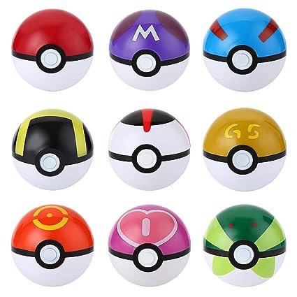 Pokemon Ball 9 Pieces Plastic Super Anime 11 Figures Balls Mini Model For