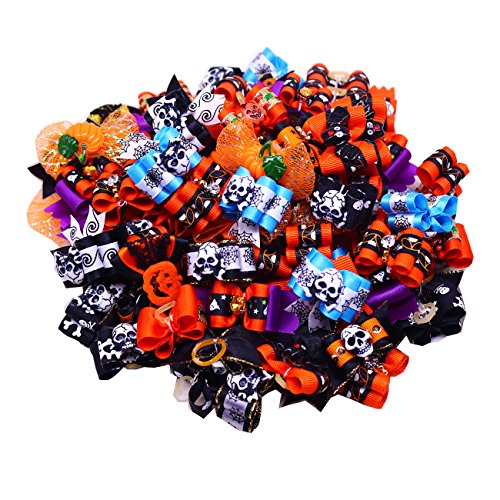 yagopet 50pcs/Pack Dog Hair Bows Halloween Styles Mixed Dog Bows for Holidays Rhinestone Centre Pet Dog Grooming Bows Supplies Dog Hair -