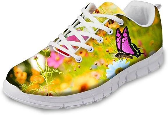 Zapatillas de Deporte para Hombre, diseño de Mariposas y Flores, para el jardín: Amazon.es: Zapatos y complementos