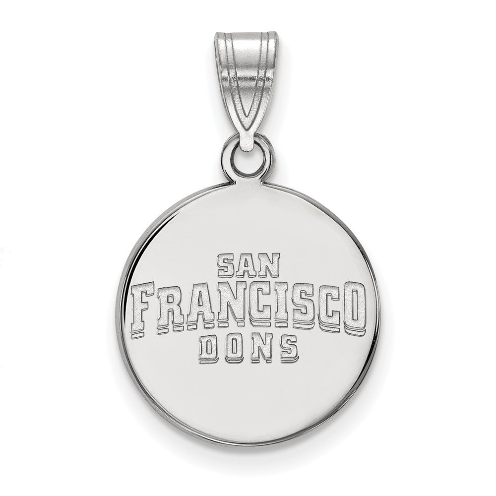 Solid 925 Sterling Silver University of San Francisco Medium Disc Pendant