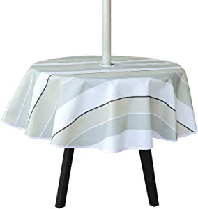 Outdoor Tablecloth with Umbrella Hole and Zipper, Stripe Table Cover for Spring Summer Patio Garden Tabletop Decor, 60 inch Round, Seats 4 People
