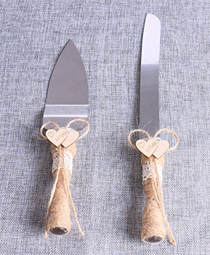 Set of 2, Rustic Wedding Cake Knife and Serving Set with Twine Heart Love Wood Tag Burlap Lace]()