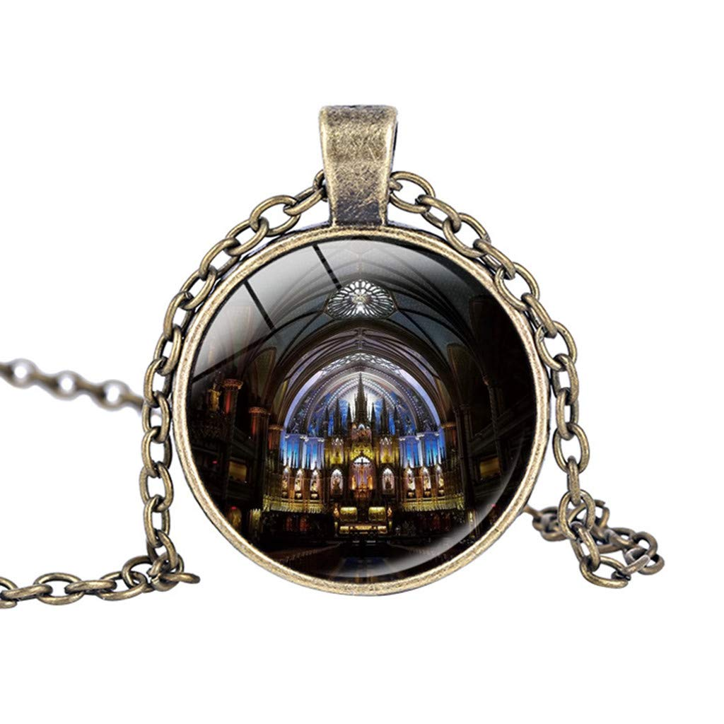 Notre Dame de Paris Cathedral Pendant Necklace Haluoo Vintage Steampunk Glass Bronze Pendant Long Chain Necklaces French Lovers Jewelry Gift for Men and Women