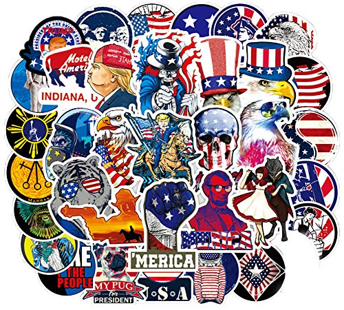 Honch USA Flag Stickers Pack 100 Pcs Suitcase Stickers Vinyl American Style Decals for Laptop Bumper Helmet Track Ipad Car Luggage Water Bottle