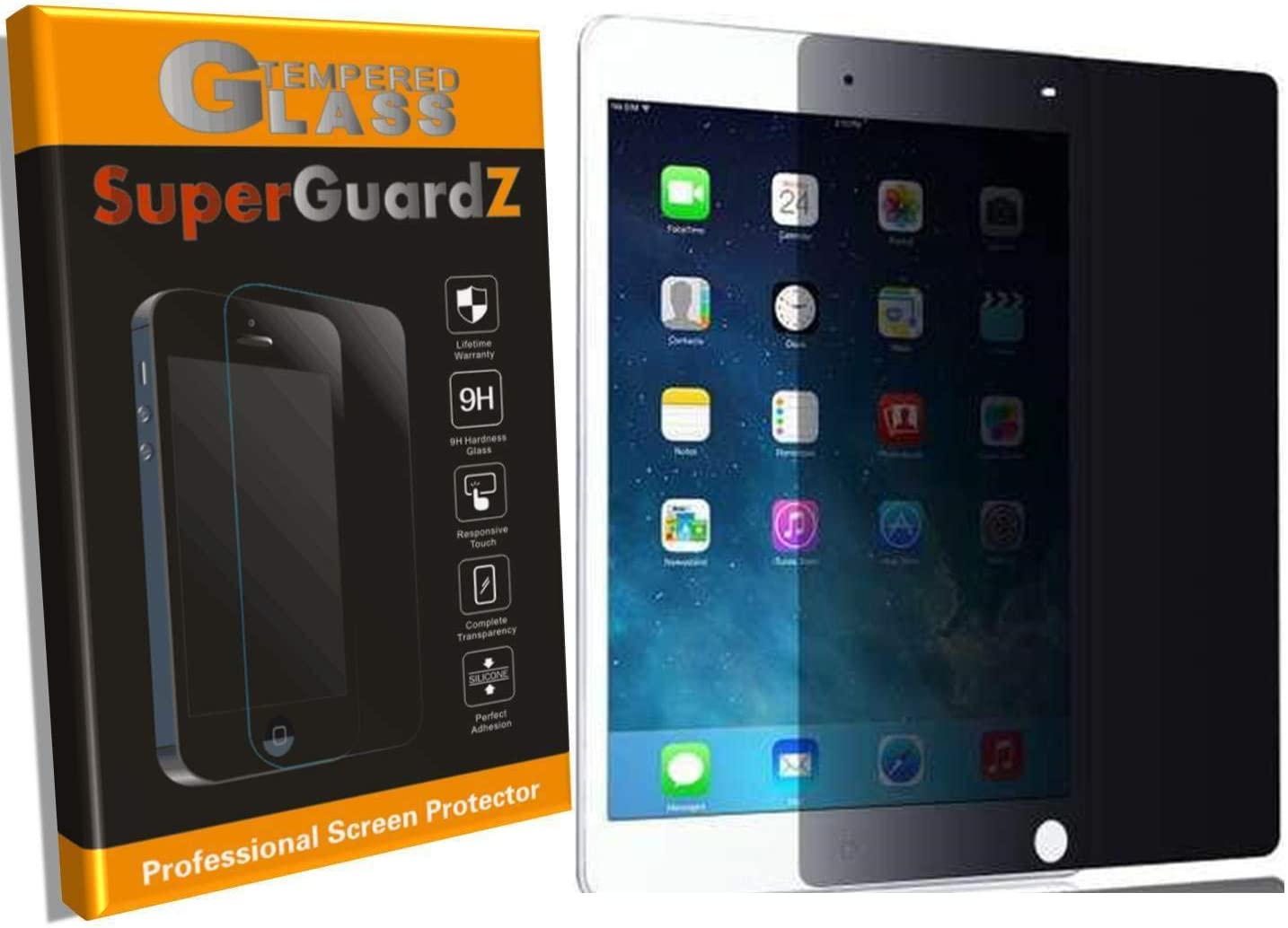 SuperGuardZ for iPad Mini 4 Tempered Glass Screen Protector [Privacy Anti-Spy] 9H Anti-Scratch, 2.5D Round Edge, Anti-Bubble [Lifetime Replacements]