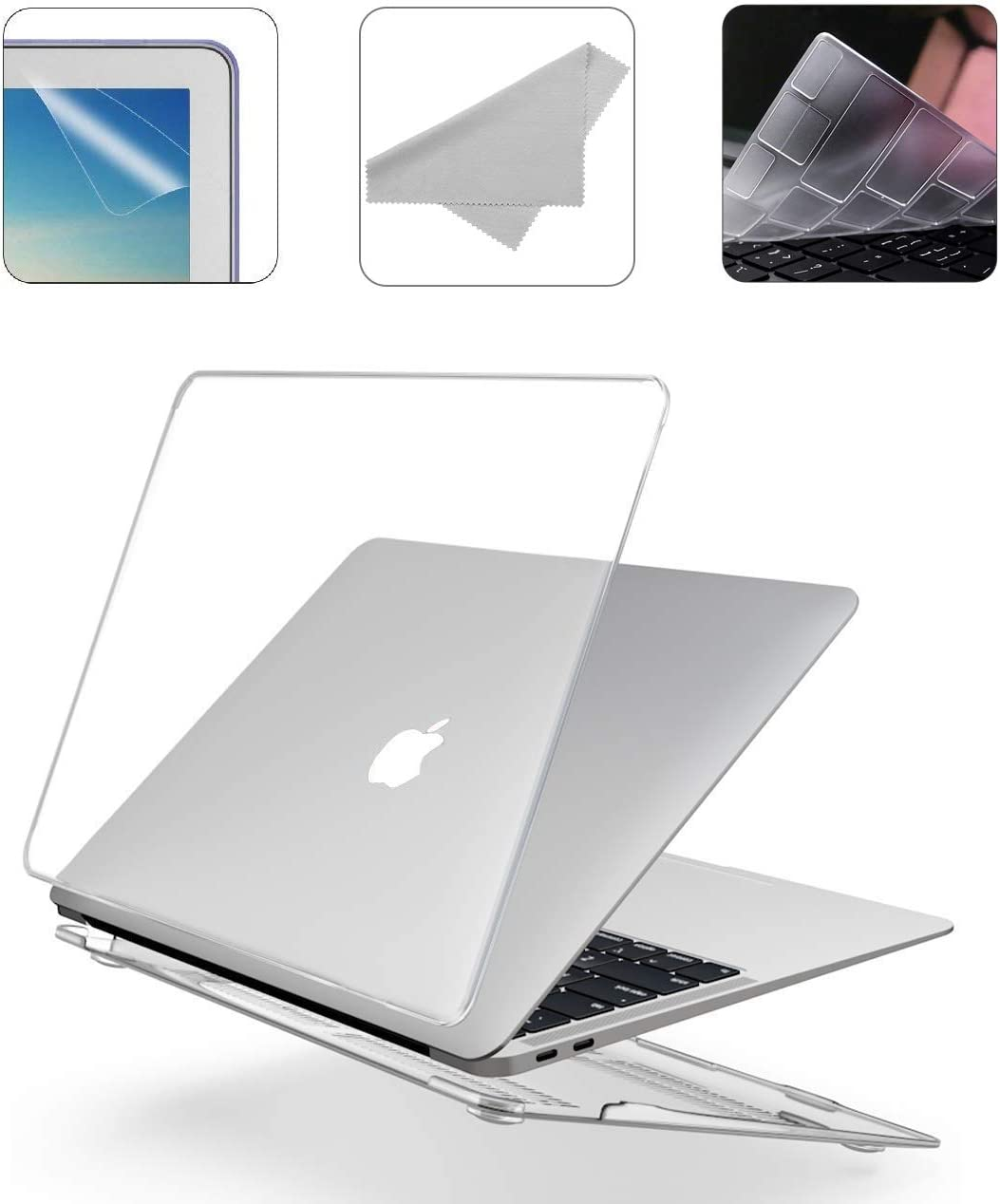 2020 New 13 Inch MacBook Pro A2251 A2289 A2159 A1989 A1706 Hard Case Pack with Plastic Hard Shell, Keyboard Cover, Screen Protector & Cleaning Cloth WGS58 - Crystal Clear