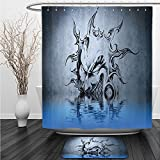 Vipsung Shower Curtain And Ground MatTattoo Decor Sun with Poker Joker Face Character Fictional Evil Reflection on Water World Blue GreyShower Curtain Set with Bath Mats Rugs